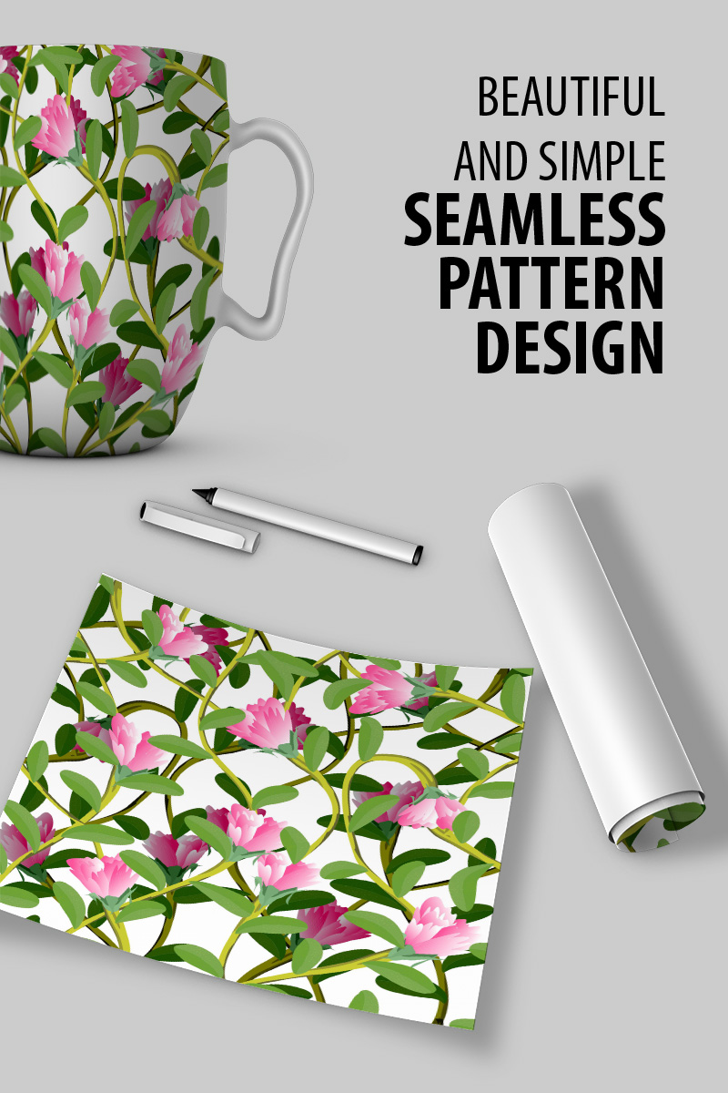 """Classical and elegant hand drawn illustration of floral repeat design"" pattern  #90789"