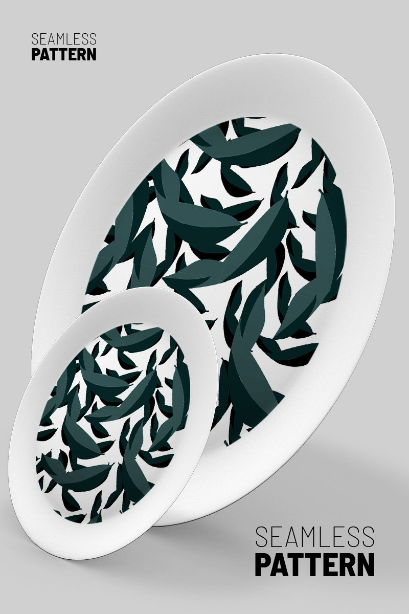 Classical retro style hand drawn falling leaves scattered in space design Pattern
