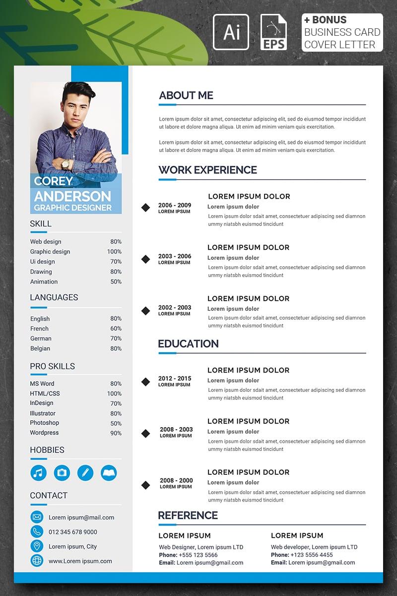 """Corey Anderson - Graphic Designer"" CV Template №90723 - screenshot"