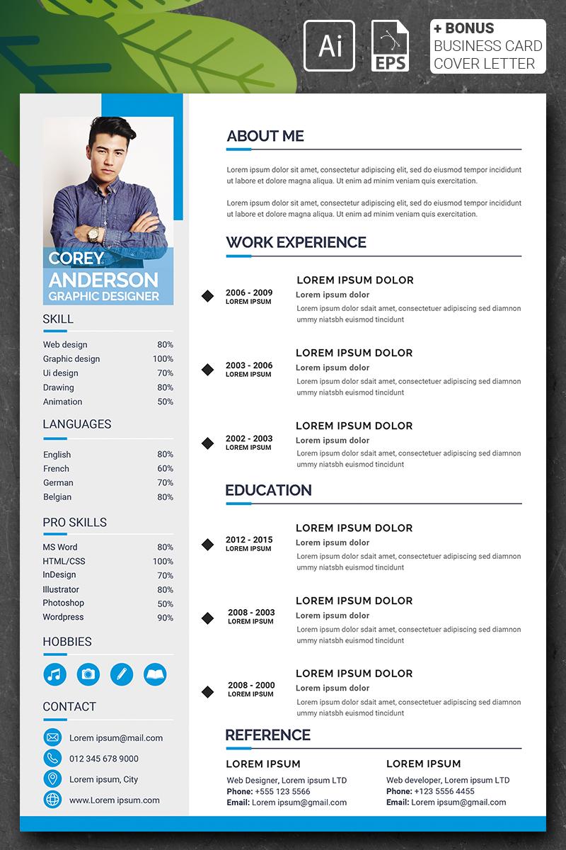 """""""Corey Anderson - Graphic Designer"""" modèle de CV  #90723"""