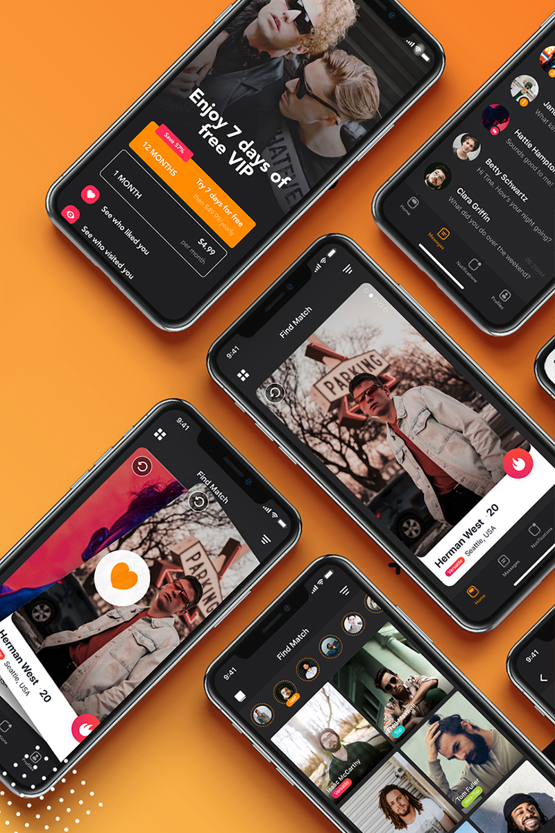 "Elementos De IU ""ManHunt - Dating app UI Kit"" #90799"