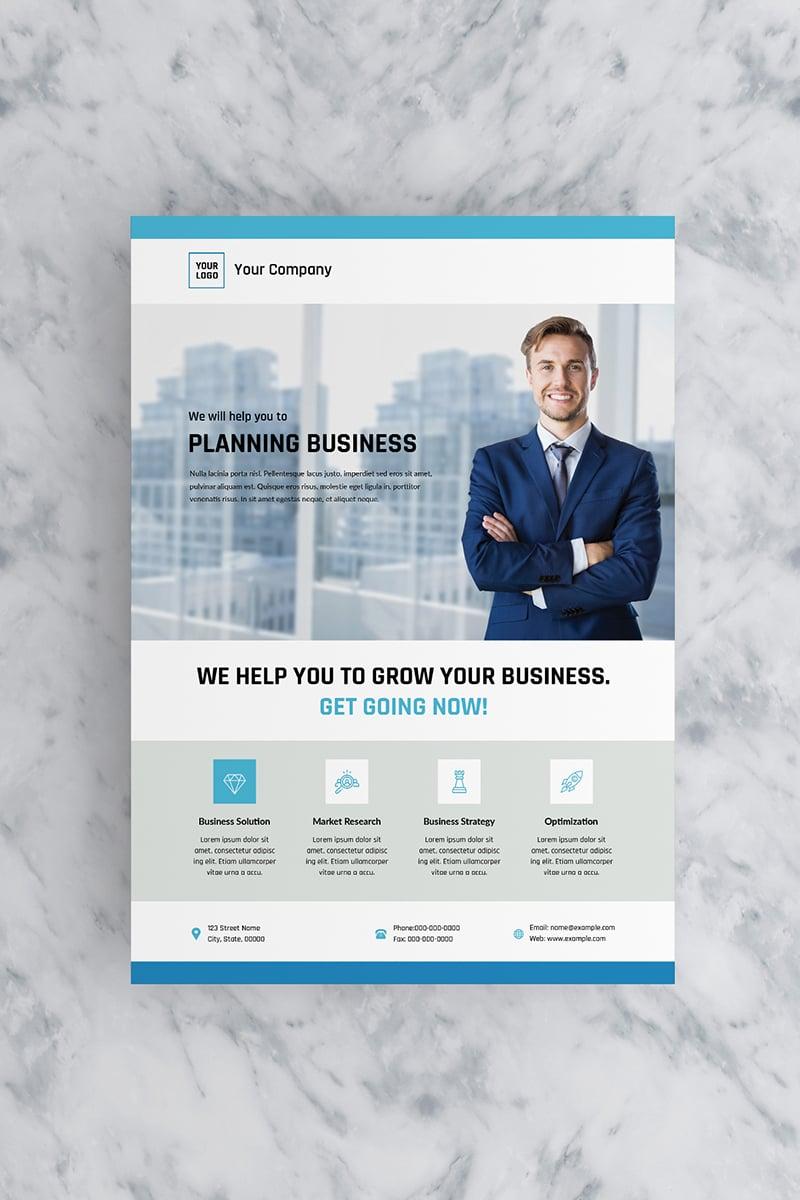 """Flat Blue Business Flyer"" design d'Entreprise  #90770"