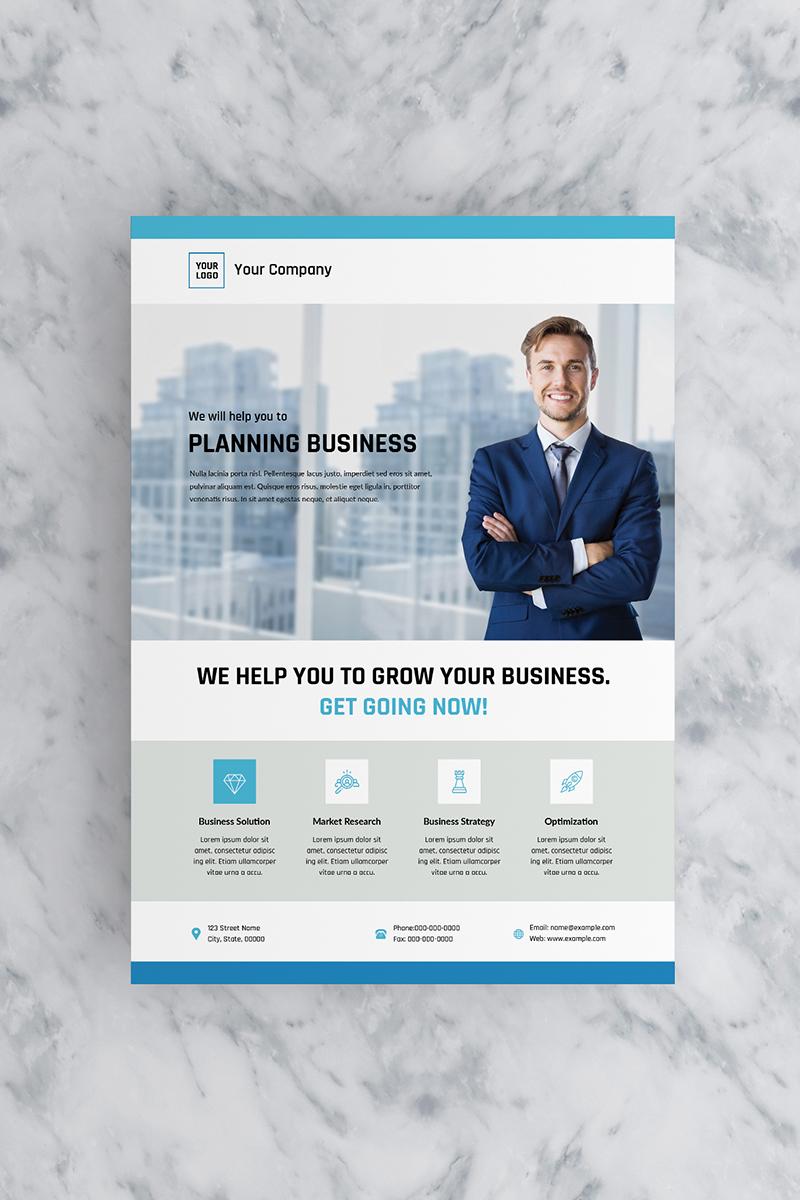 """Flat Blue Business Flyer"" 企业设计模板 #90770"