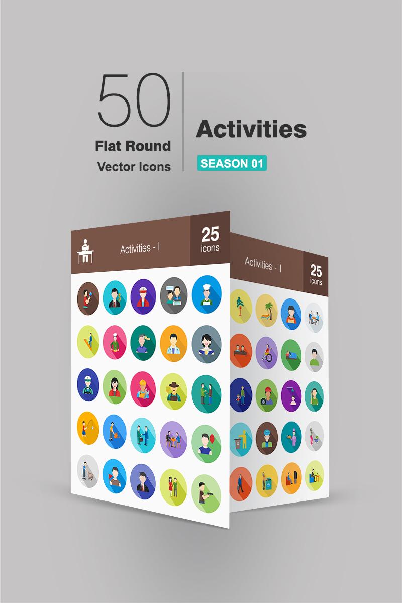 "Iconset šablona ""50 Activities Flat Long Shadow"" #90709"