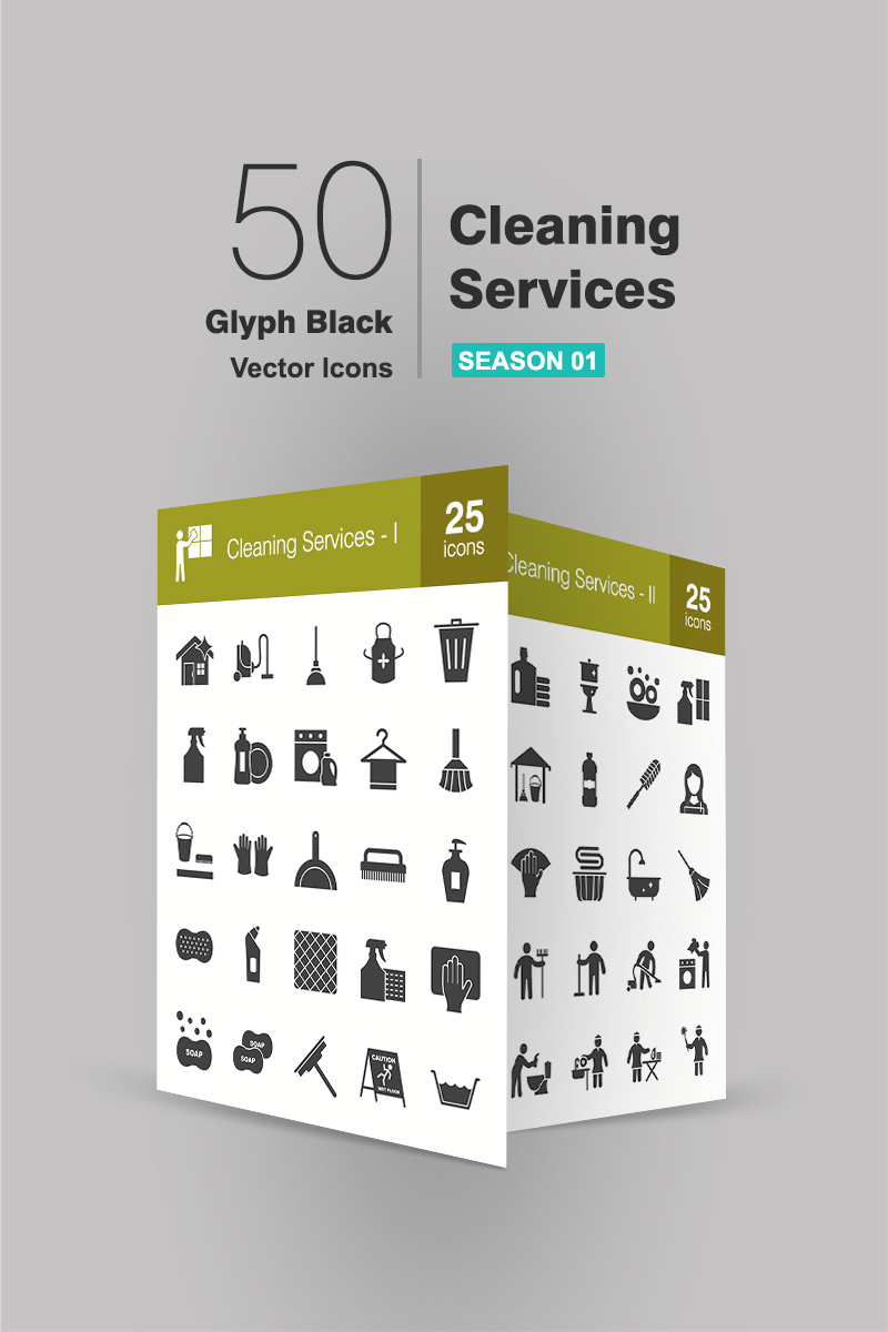 "Iconset šablona ""50 Cleaning Services Glyph"" #90703"