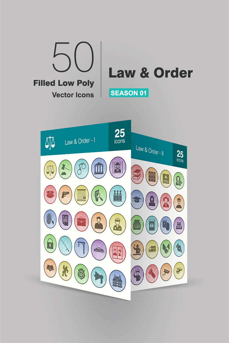 "Iconset šablona ""50 Law & Order Filled Low Poly"" #90711"