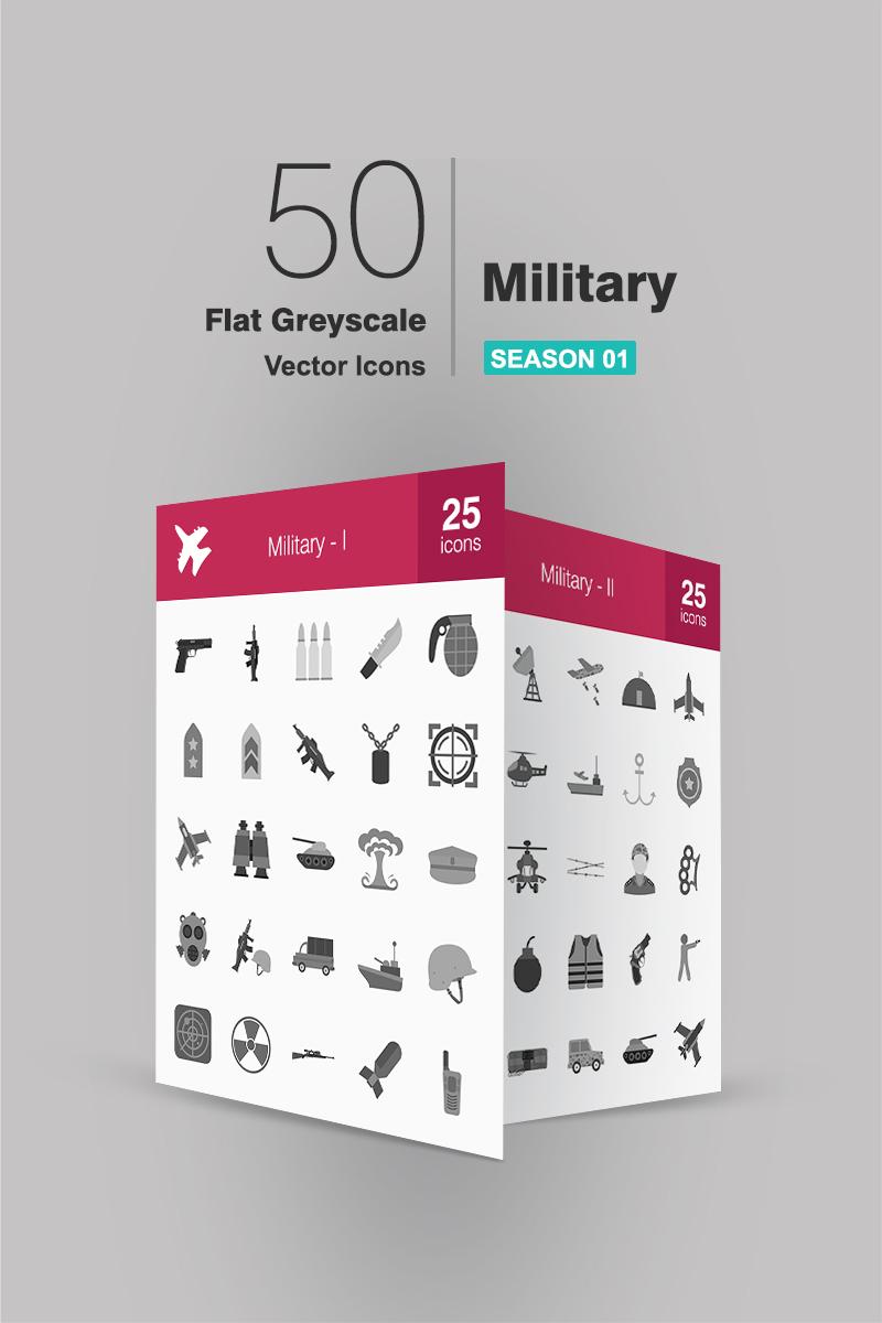 """Iconset šablona """"50 Military Flat Greyscale"""" #90708"""