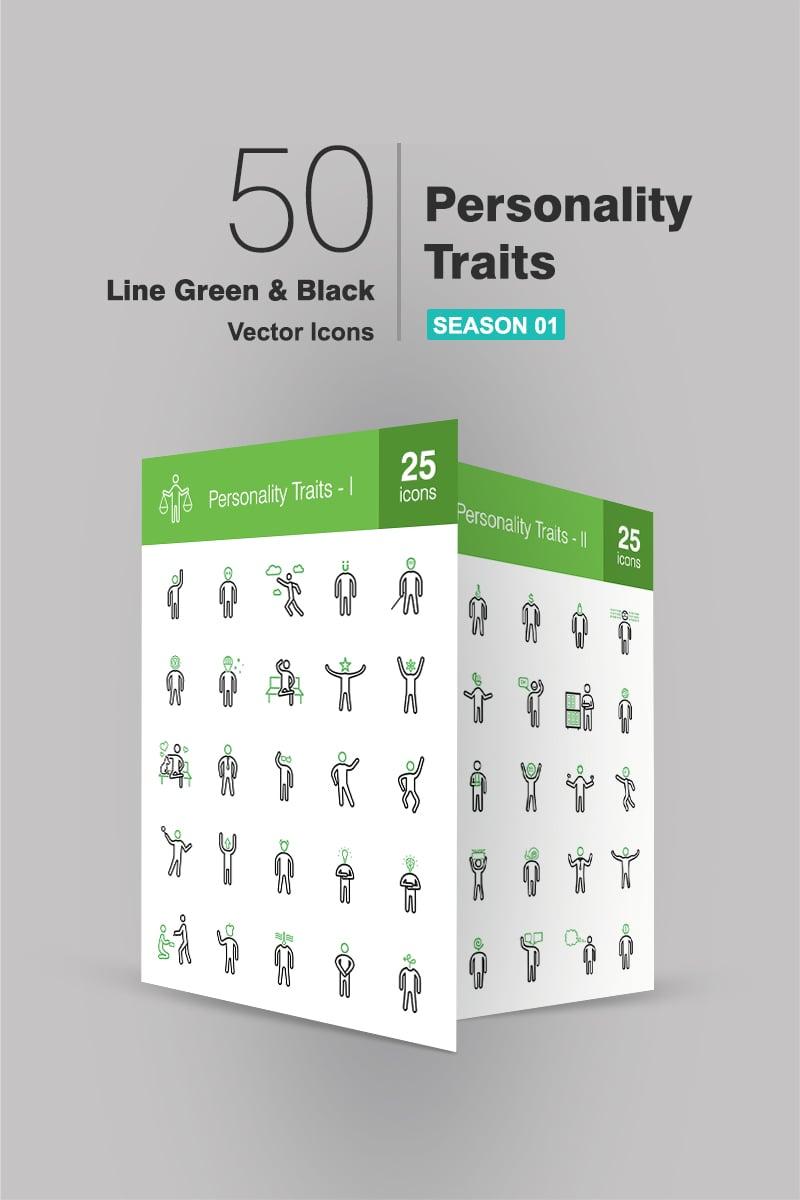 "Iconset šablona ""50 Personality Traits Line Green & Black"" #90705"