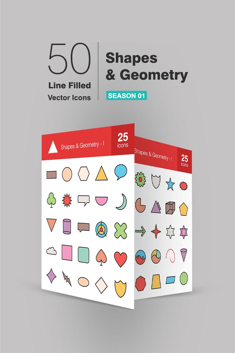 "Iconset šablona ""50 Shapes & Geometry Filled Line"" #90710"