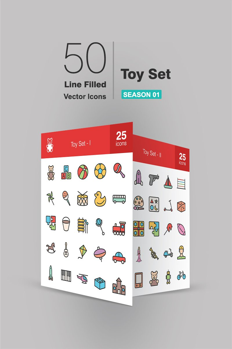 "Iconset šablona ""50 Toy Set Filled Line"" #90712"