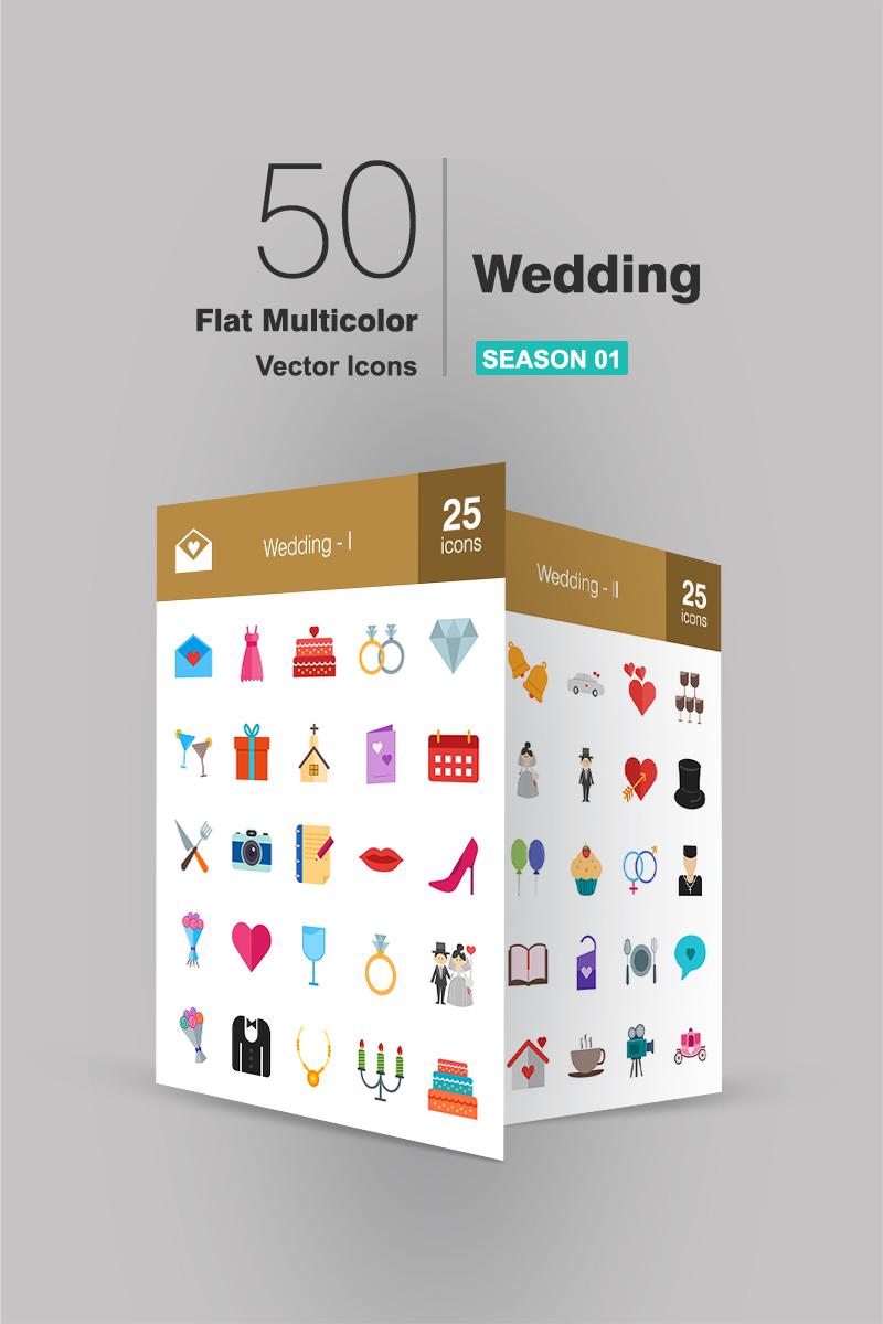 """Iconset šablona """"50 Wedding Flat Multicolor"""" #90707"""