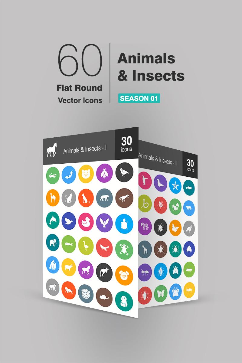 "Iconset šablona ""60 Animals & Insects Flat Round"" #90706"