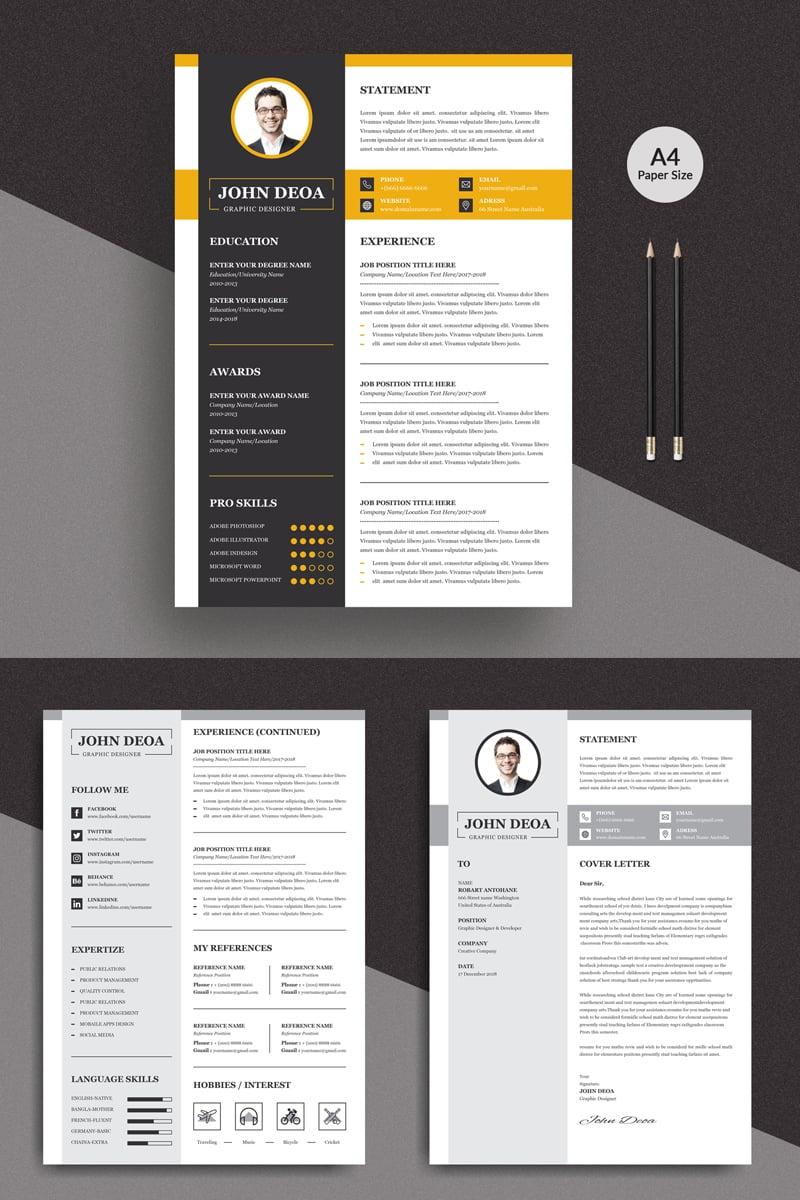 """John 3 Pages Modern"" Premium CV Template №90720"