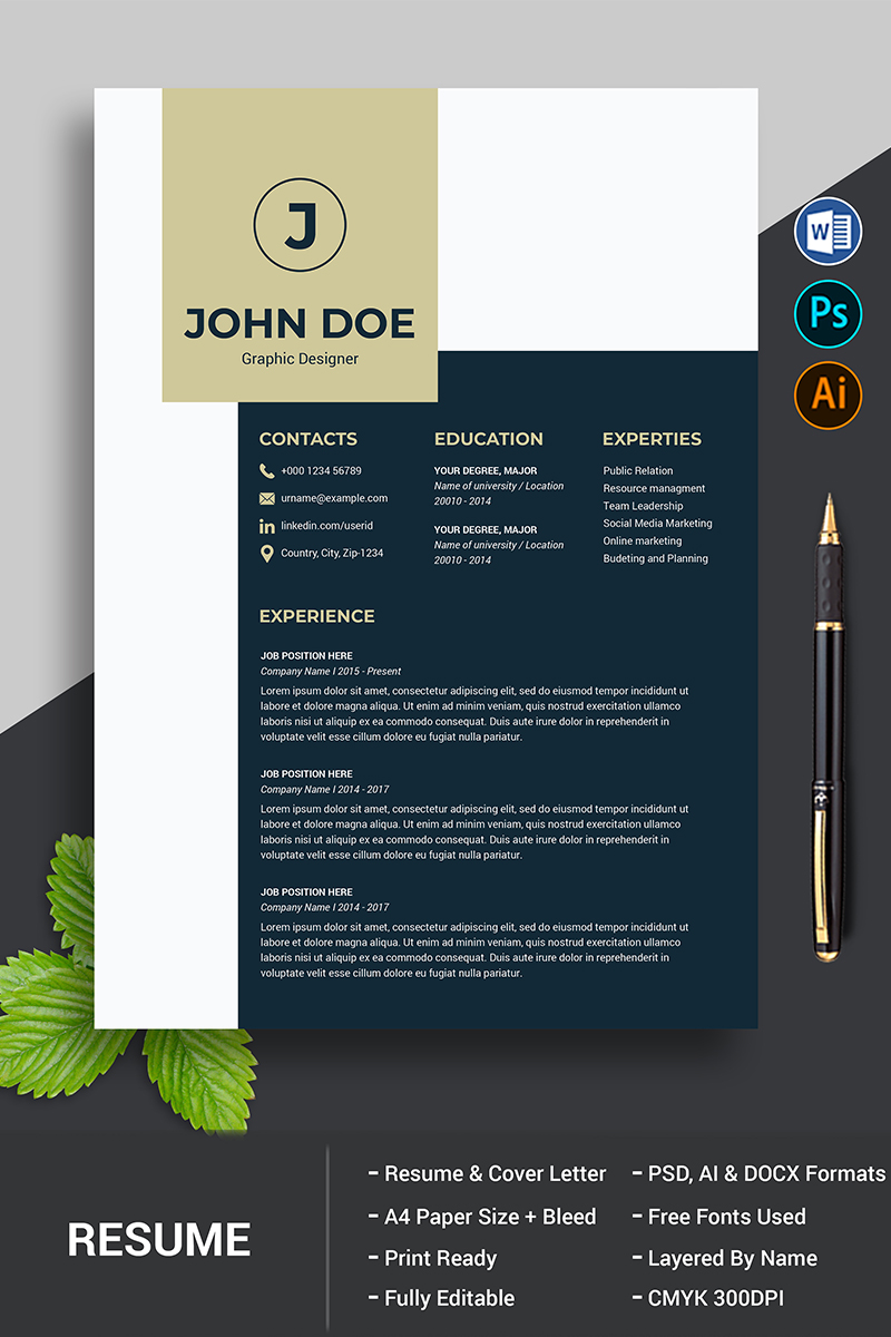 """""""John Doe CV"""" modèle de CV  #90718 - screenshot"""