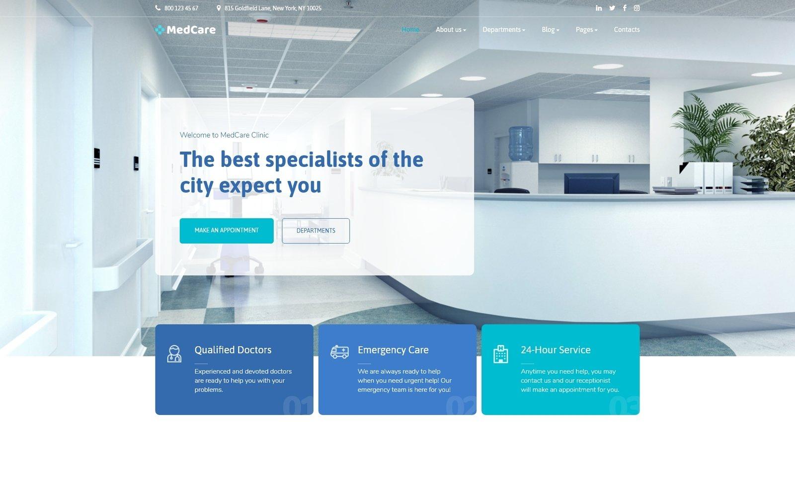 """""""MedCare - Healthcare Clinic"""" - адаптивний Шаблон сайту №90757"""