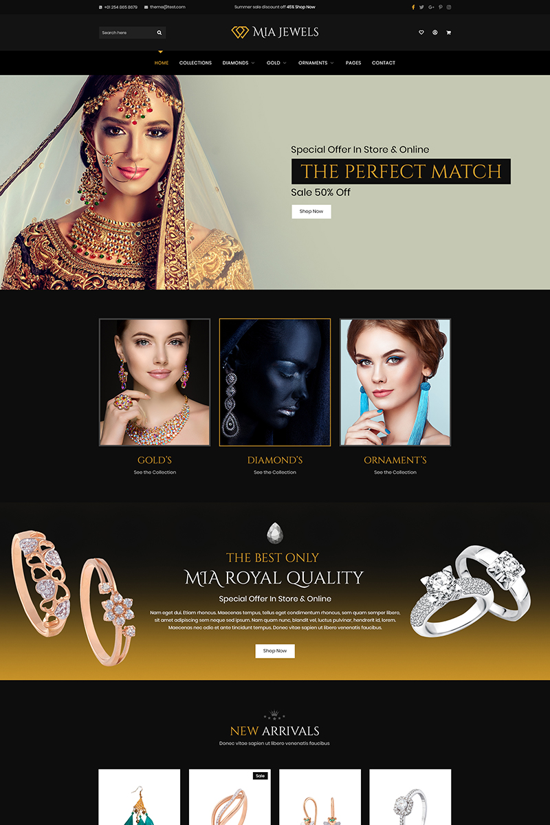 Mia Jewel - Jewelery E-Commerce Psd #90778