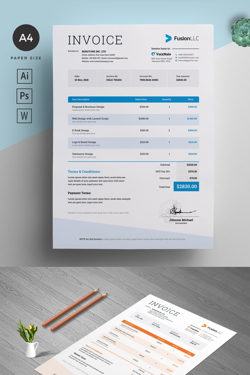 MS Word Invoice Template de Identidade Corporativa №90775