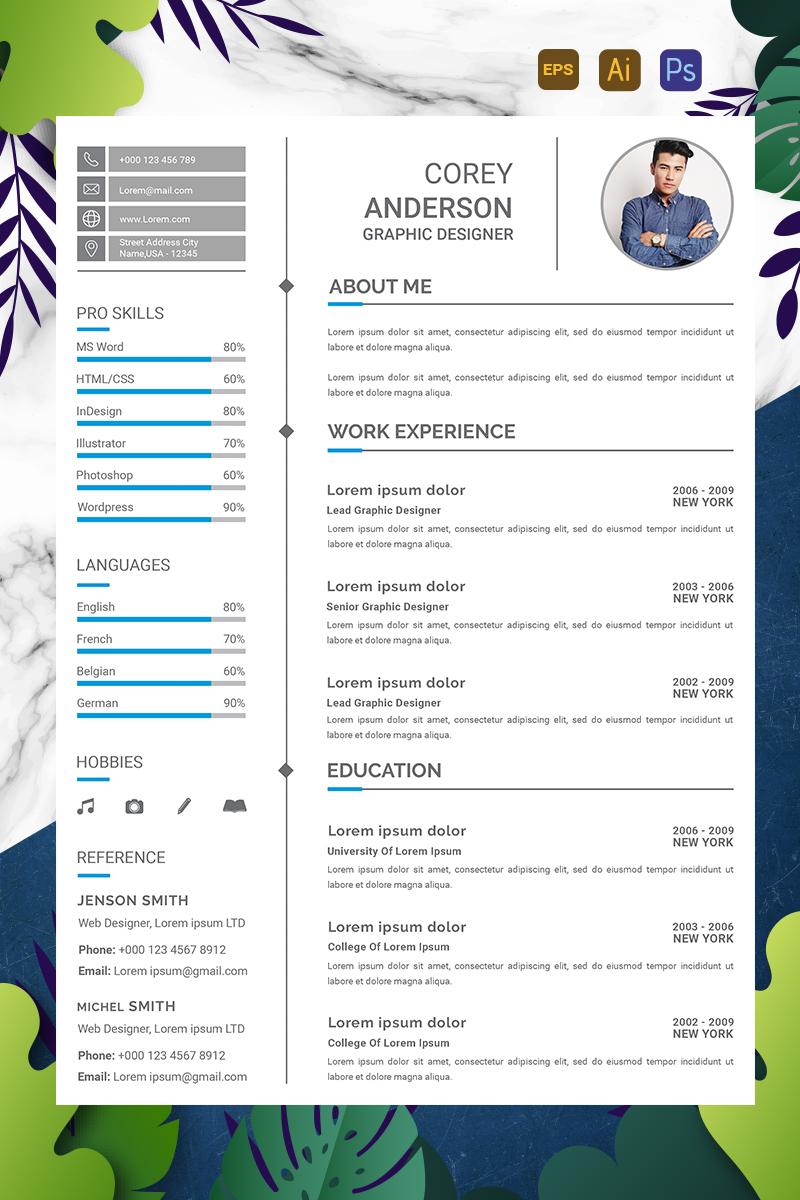 """Plantilla De CV """"Anderson - Graphic Designer"""" #90713"""