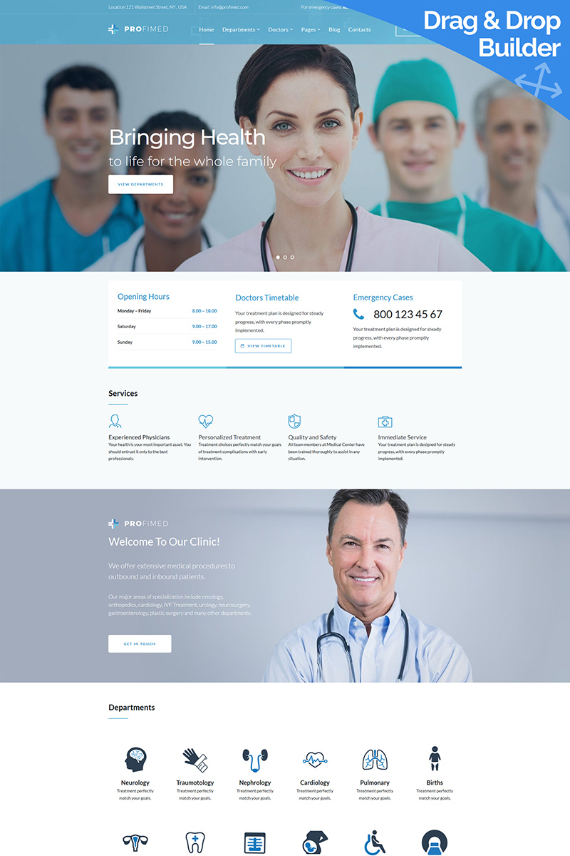 """Profimed - Medical"" Responsive Moto CMS 3 Template №90746"
