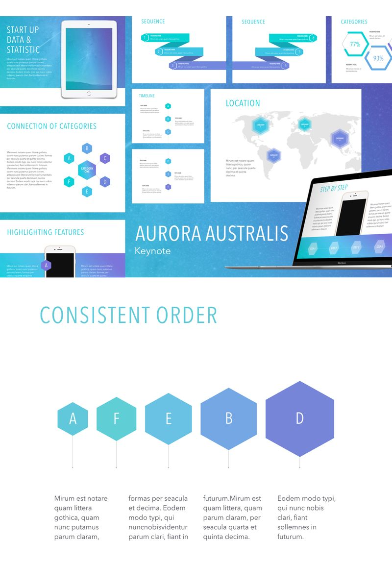 "Šablona pro Keynote ""Aurora Australis"" #90733"