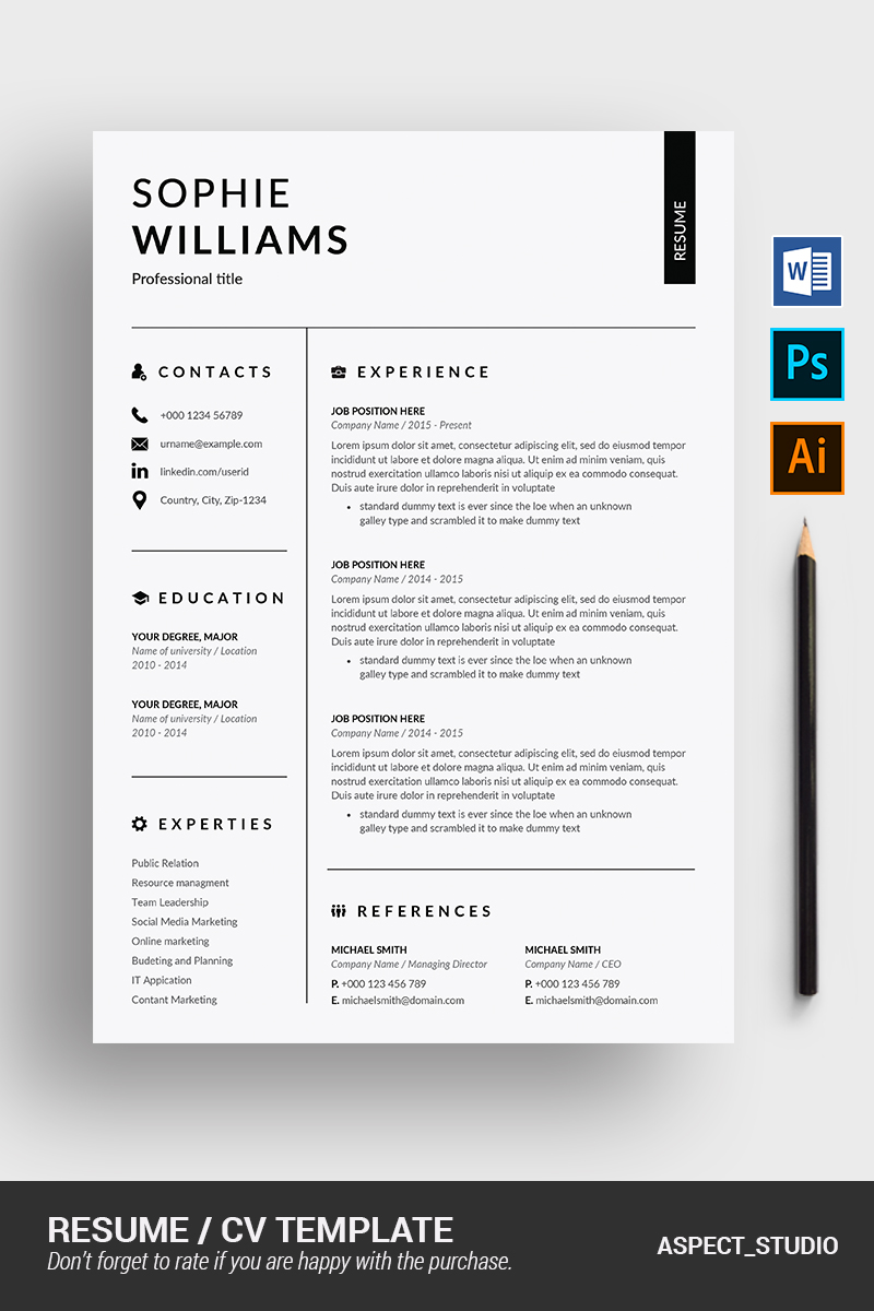 sophie williams resume template  90716