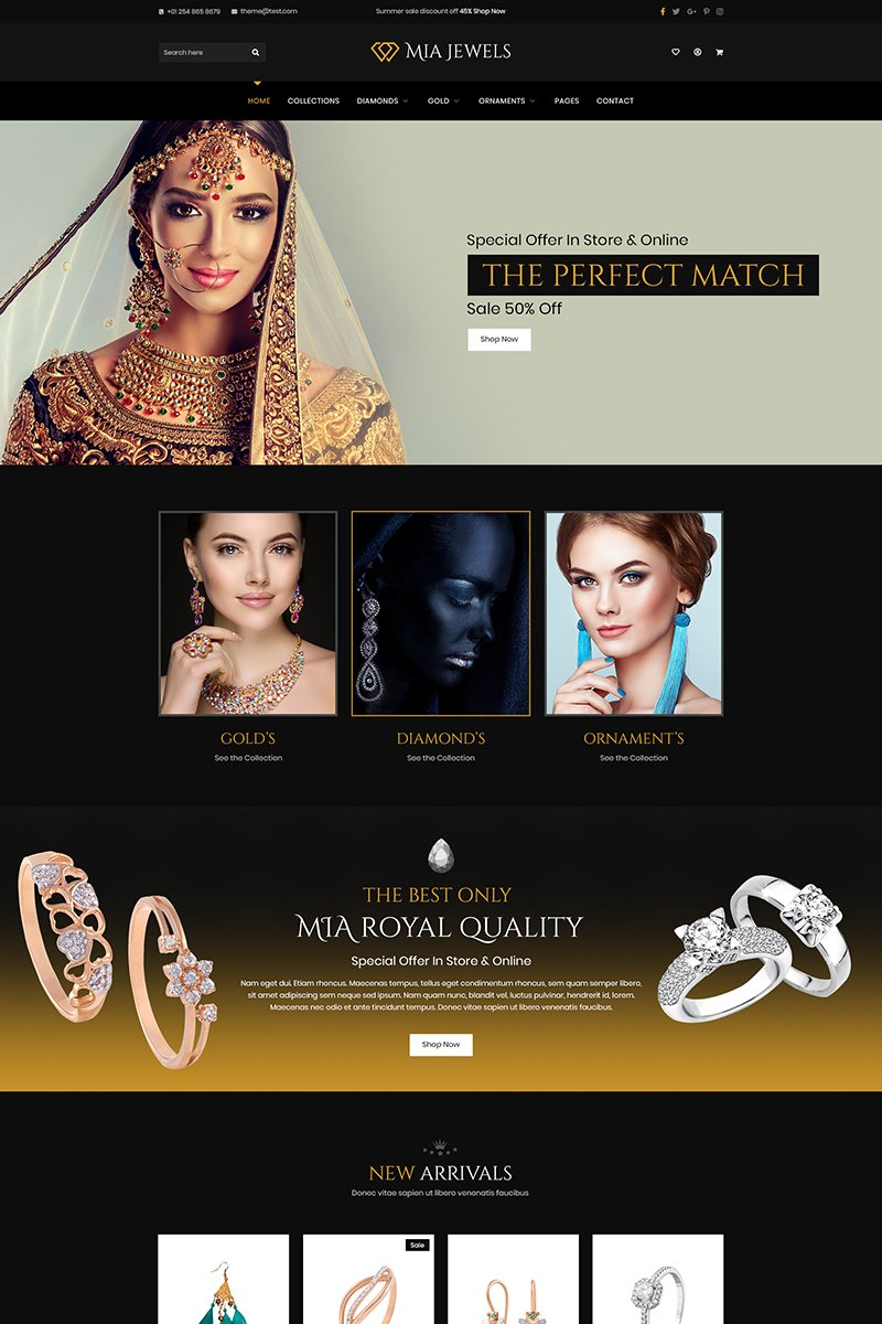 Szablon PSD Mia Jewel - Jewelery E-Commerce #90778