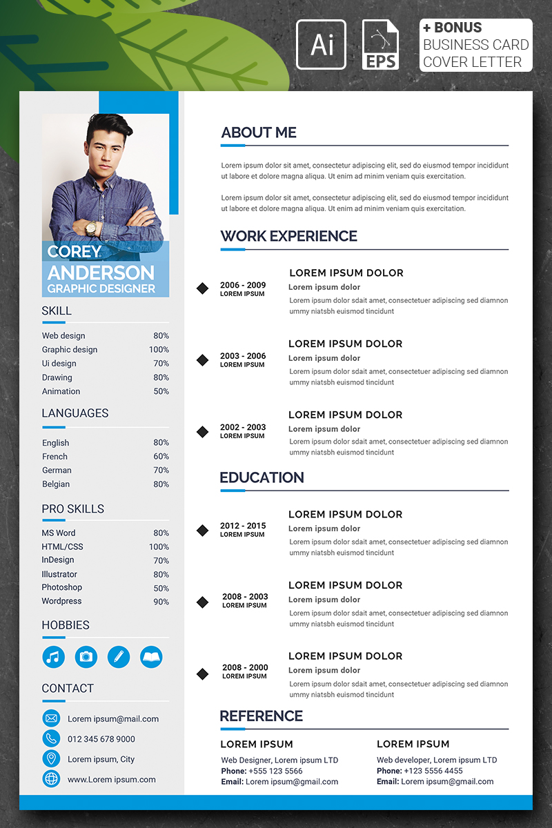 Szablon resume Corey Anderson - Graphic Designer #90723 - zrzut ekranu