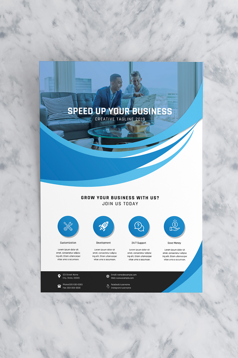 """""""Wave abstract Business Flyer"""" 企业设计模板 #90771"""