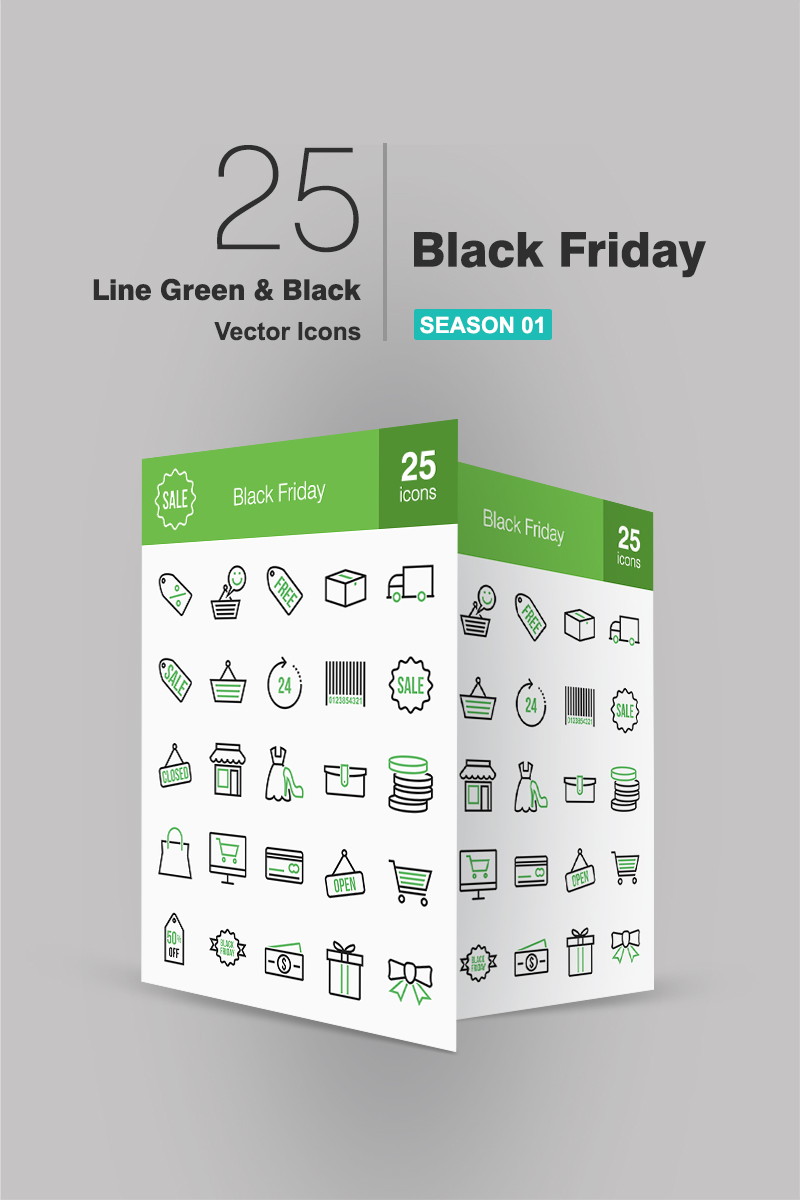 25 Black Friday Line Green & Black Iconset Template