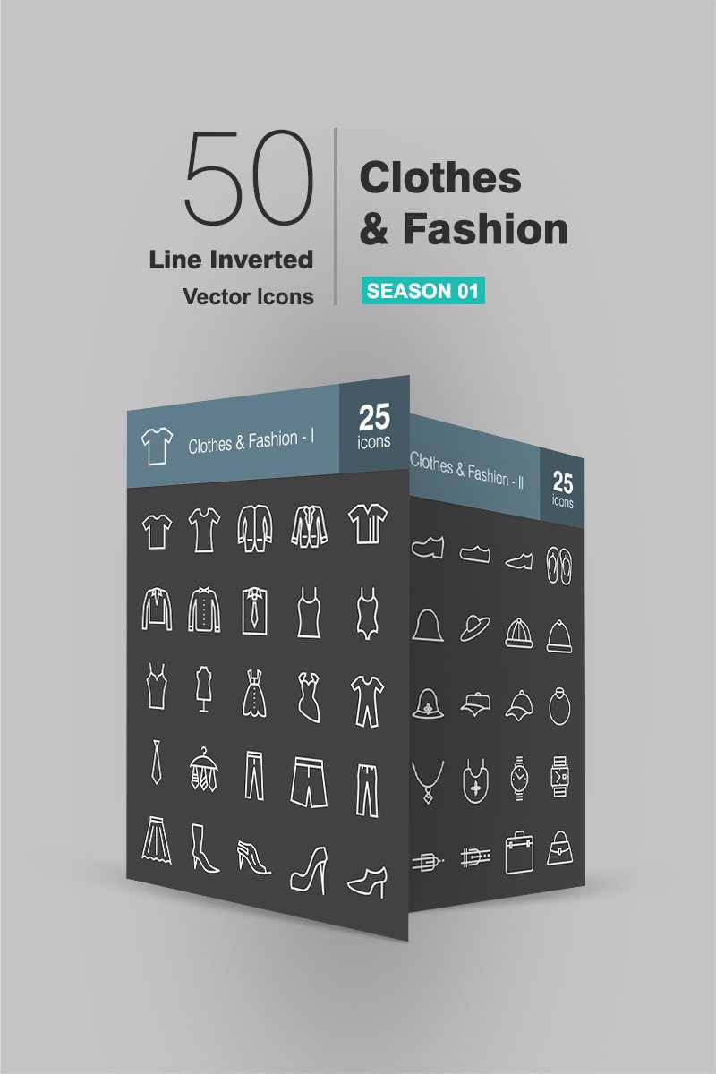 50 Clothes & Fashion Line Inverted Iconset Template