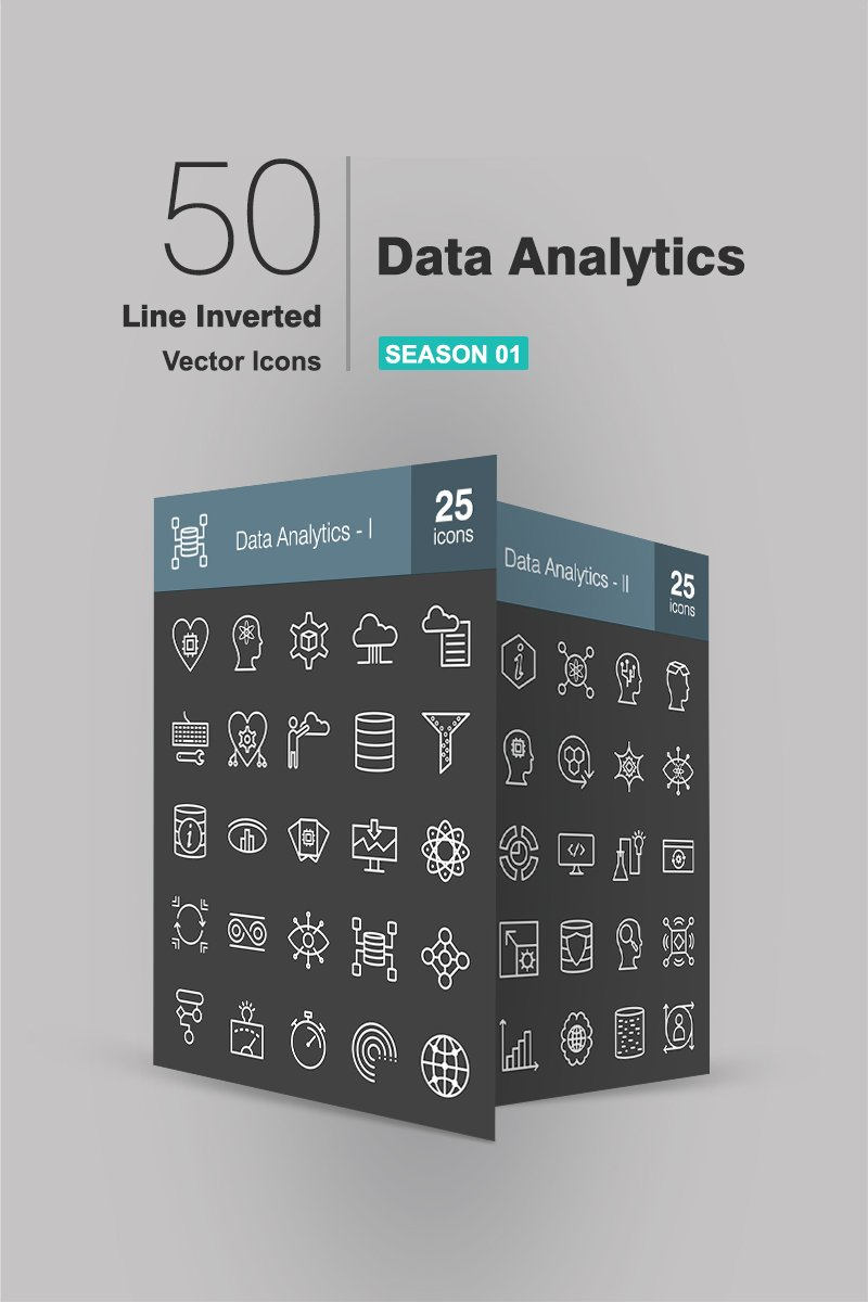 50 Data Analytics Line Inverted Iconset Template