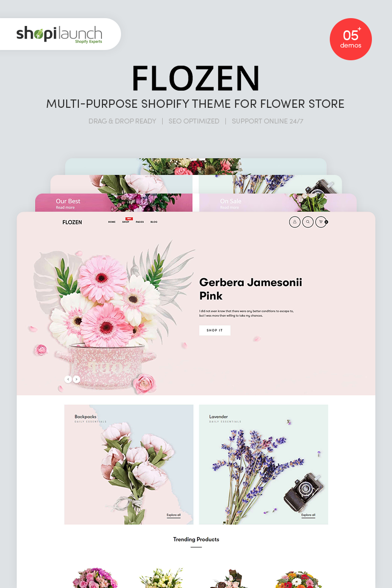 """Flozen - MultiPurpose Flower Store"" - Shopify шаблон №90819"