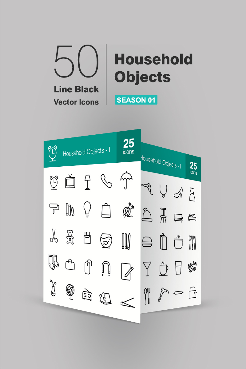 50 Household Objects Line Iconset Template