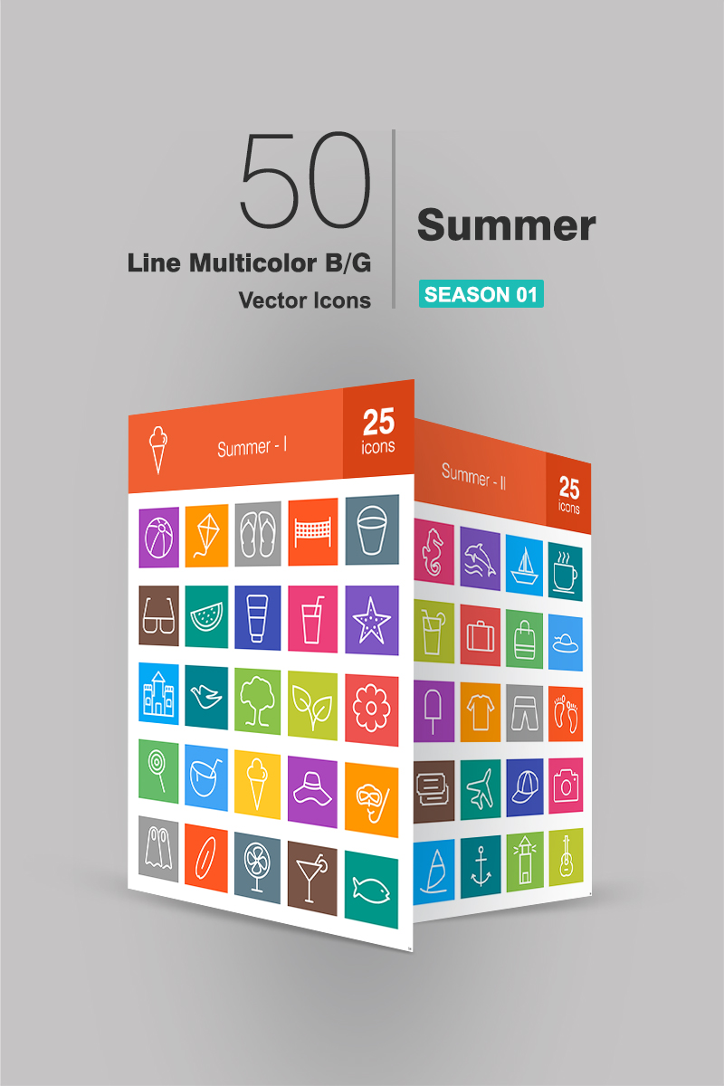 "Iconset šablona ""50 Summer Line Multicolor B/G"" #90875"
