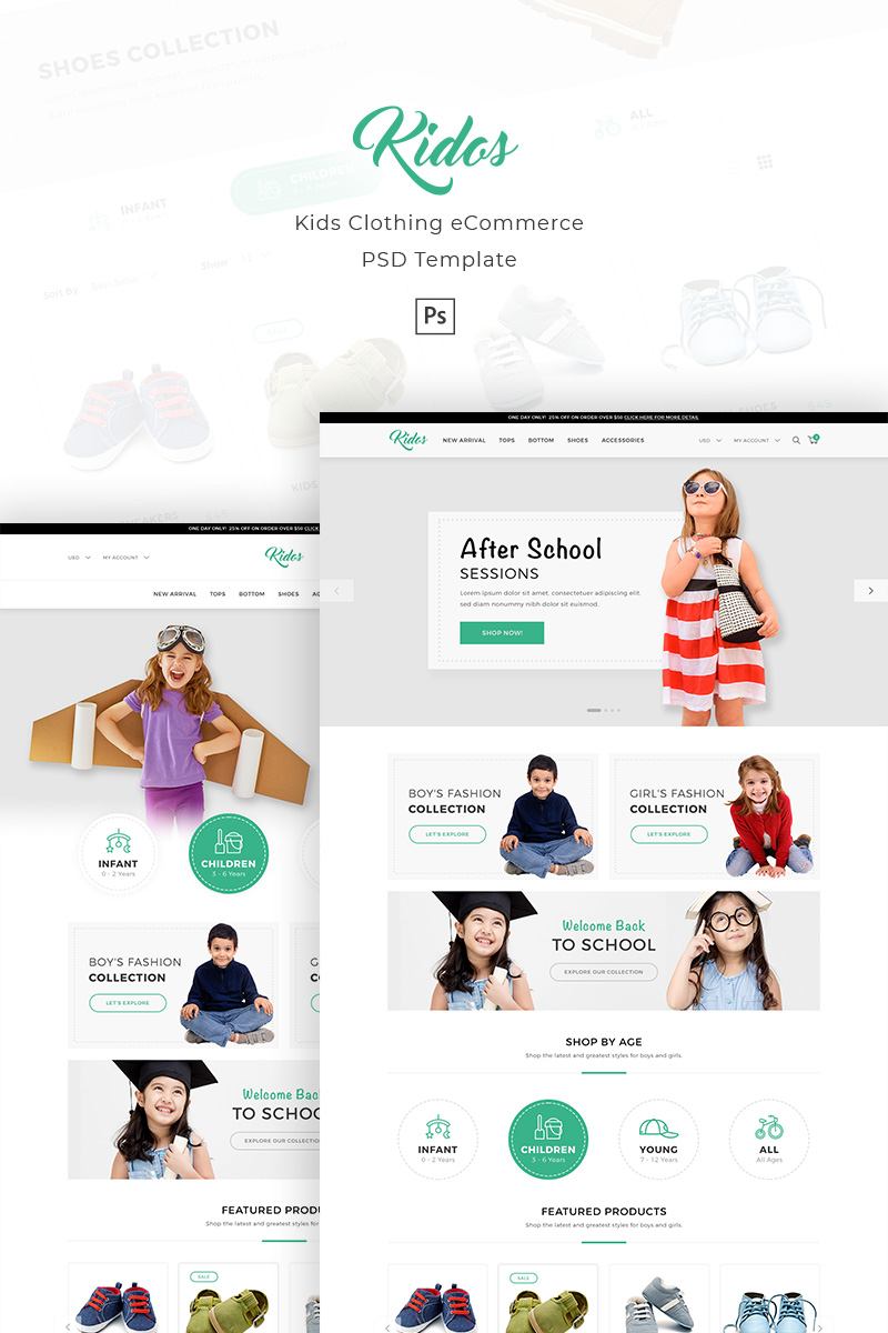 Kidos - Kids Clothing eCommerce Template Photoshop №90820