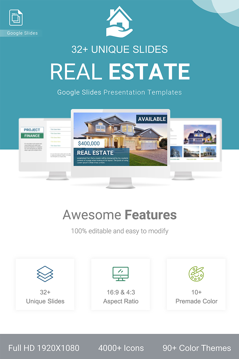 "Modello Google Slides Responsive #90860 ""Real Estate"""