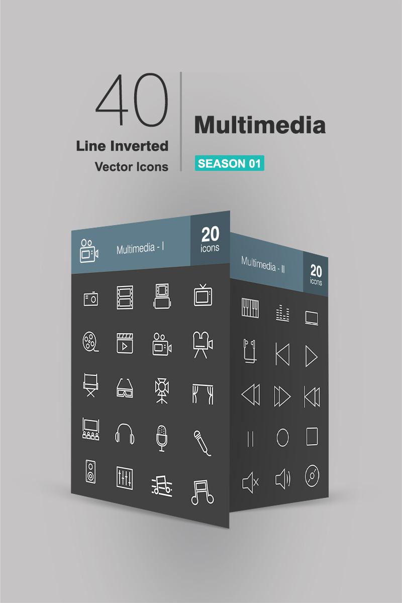 40 Multimedia Line Inverted Iconset Template