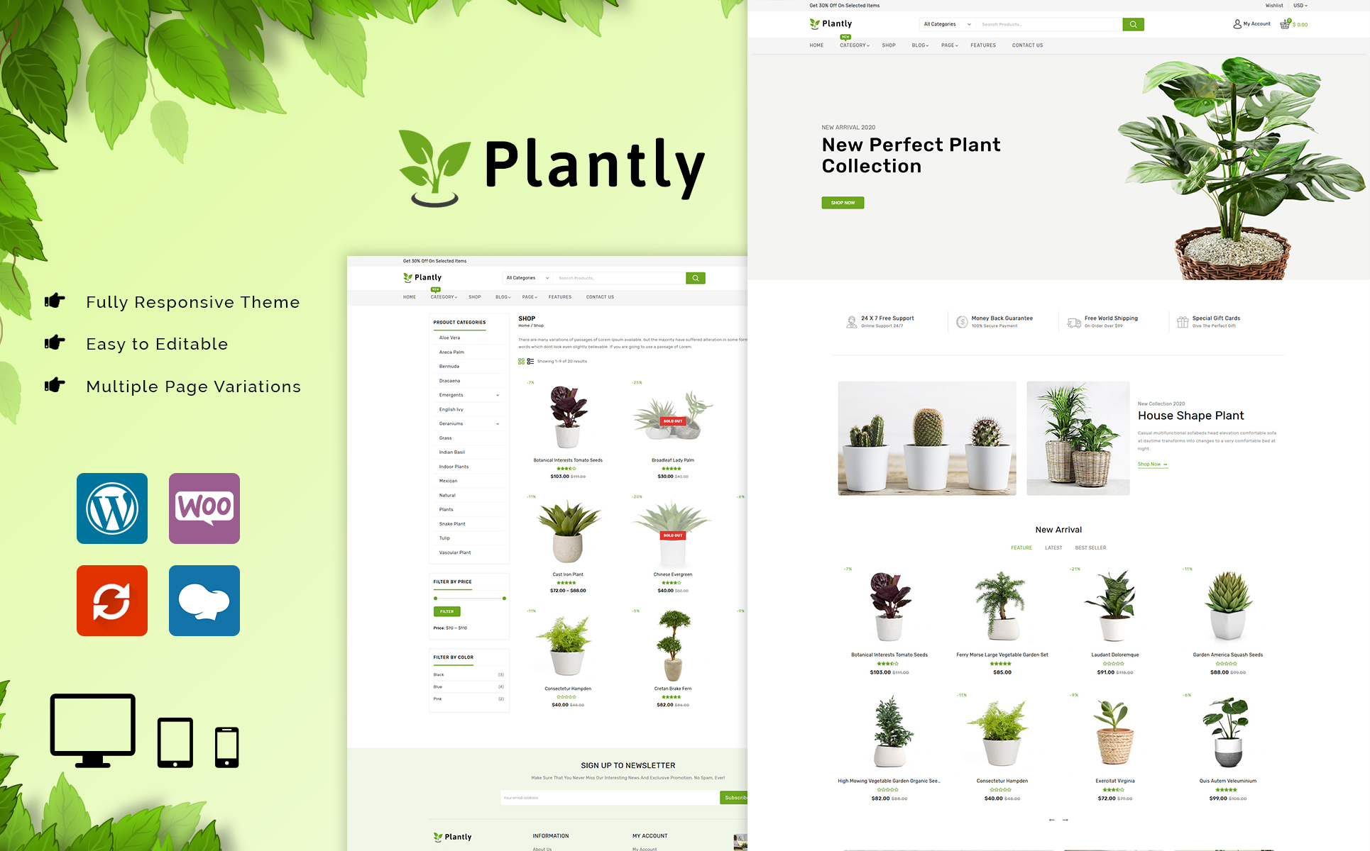 Plantly Responsive Theme Tema WooCommerce №90822