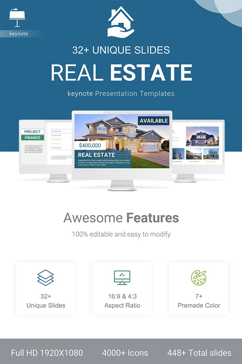 """Real Estate"" Responsive Keynote Template №90837"