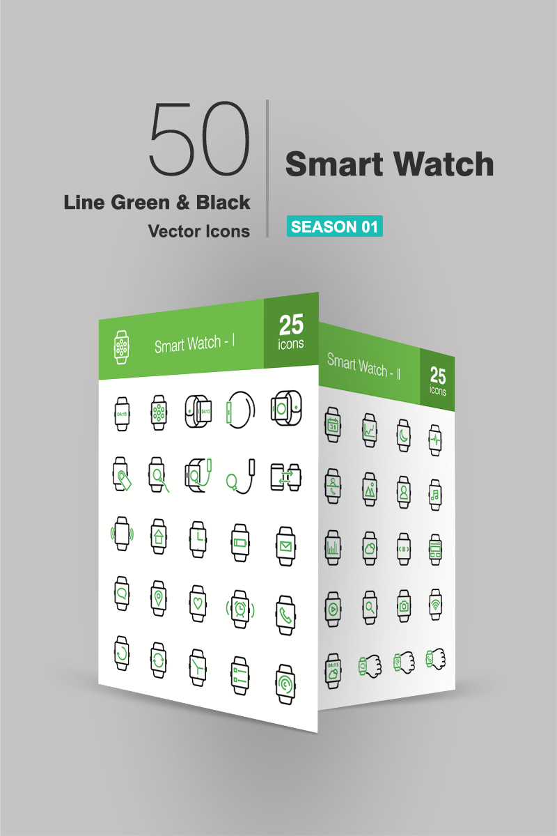 50 Smart Watch Line Green & Black Iconset Template