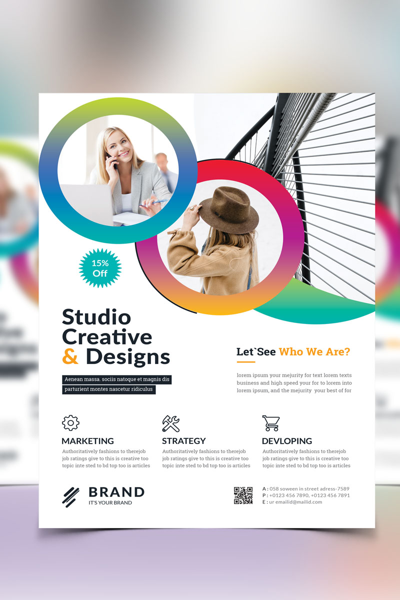 """Brand - Creative Business Flyer Vol_ 18"" 企业设计模板 #90925"