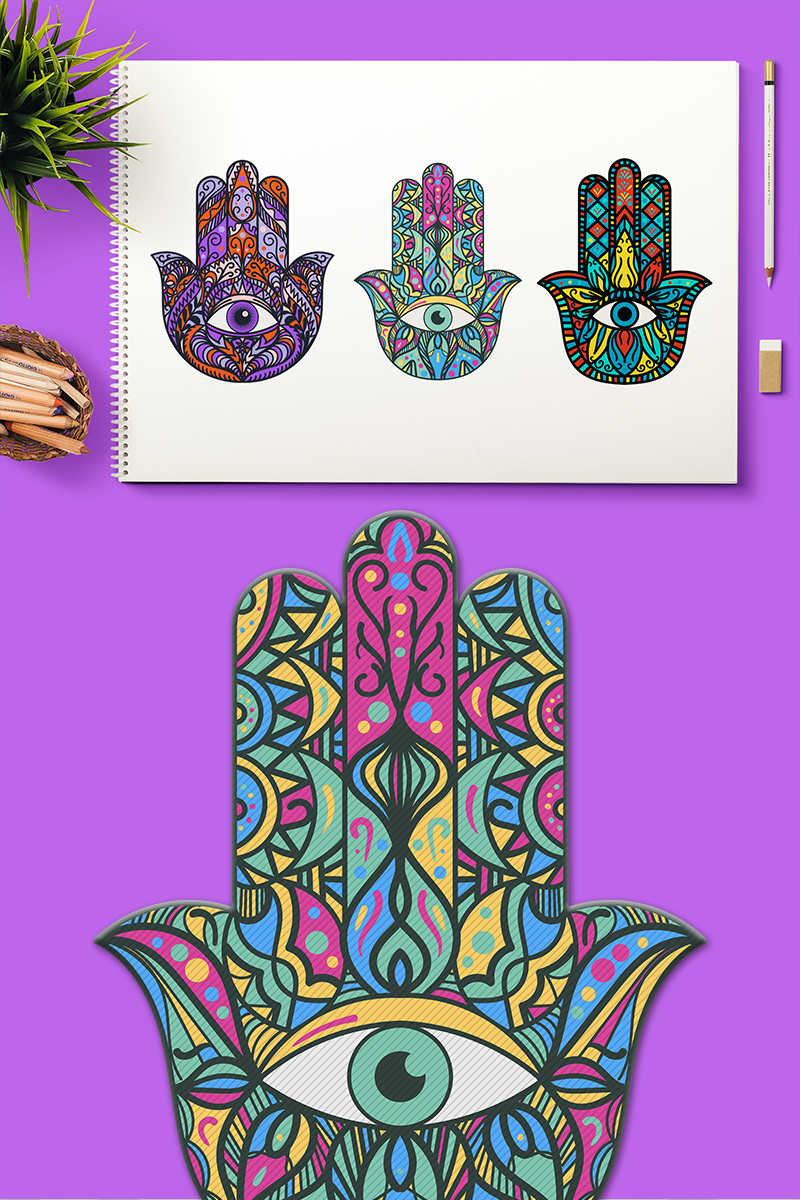 Bright Hamsa Hands Cliparts Set Açıklamalar #90953