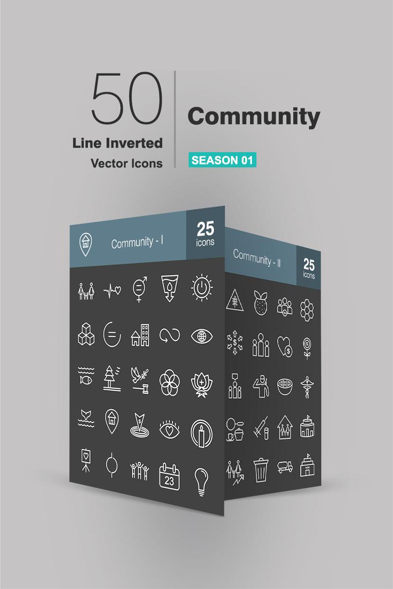 """""""50 Community Line Inverted"""" ensemble d'Icônes  #90940"""