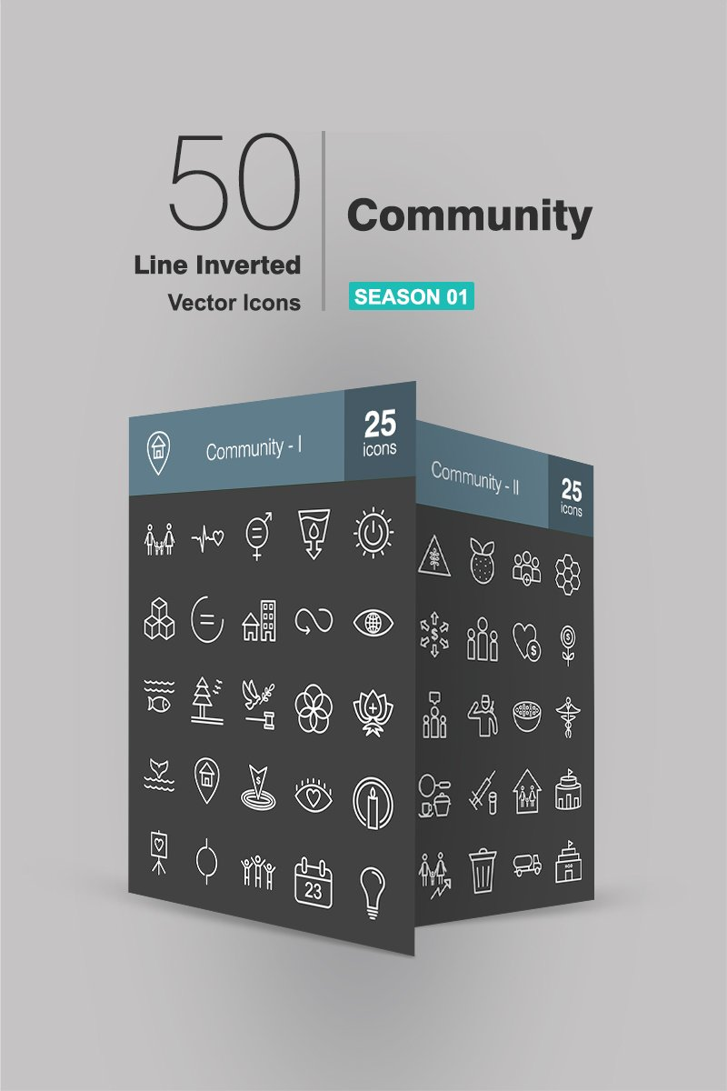 50 Community Line Inverted Iconset-mall #90940
