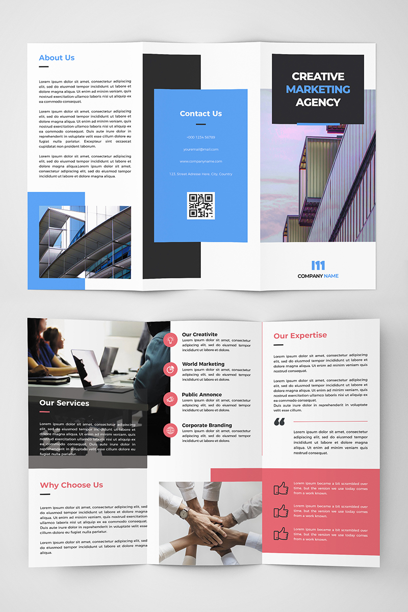 Creative Tri-fold Brochure With 2 Color Styles Corporate Identity Template