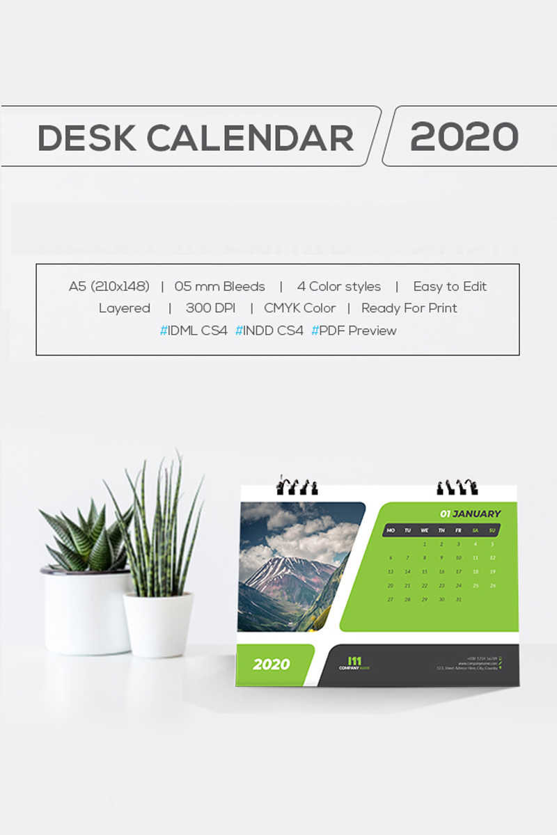 Desk Calendar 2020 With 4 Color Styles Planner