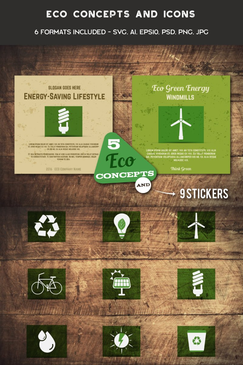 Eco Cards and Icons Illustration