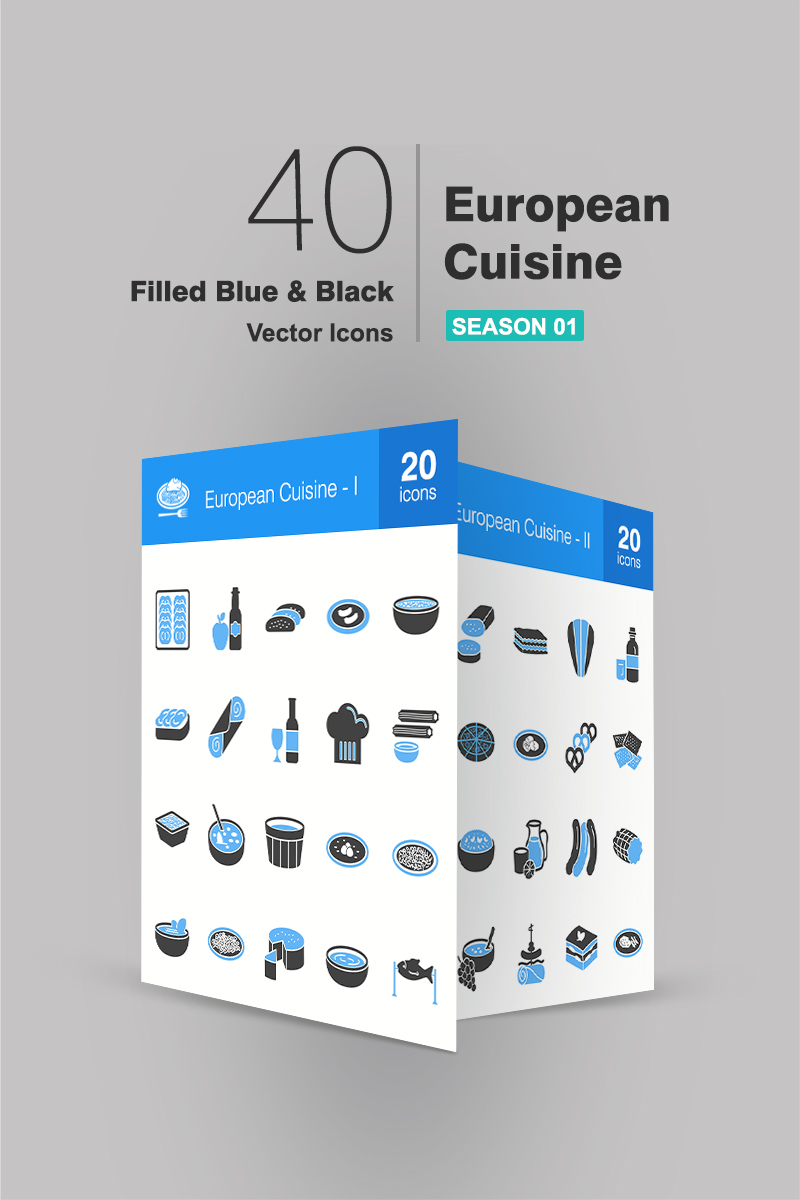 40 European Cuisine Filled Blue & Black Iconset #90946