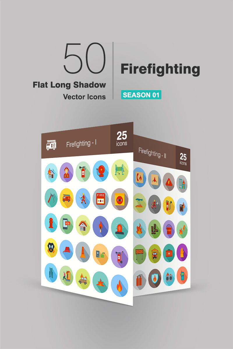 50 Firefighting Flat Long Shadow Iconset #90950
