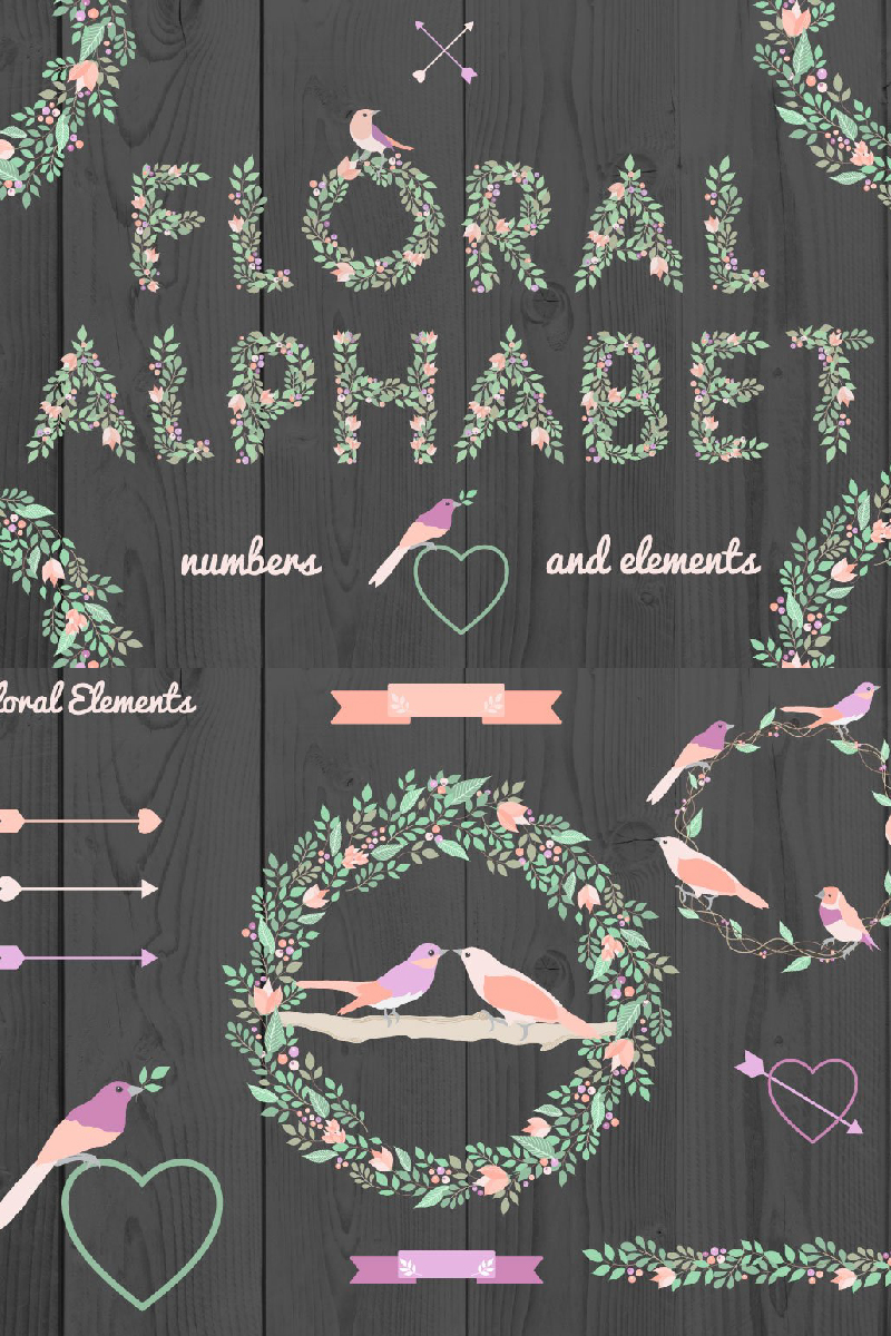 Floral Alphabet and Elements Illustration #90971